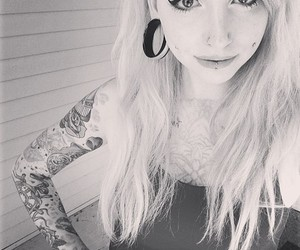 piercing, girl, and tattoo image