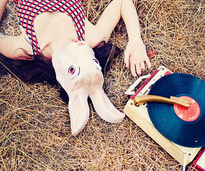 rabbit, record player, and record image