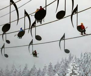music, snow, and winter image