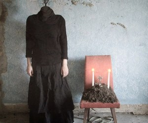 black dress, candles, and hands image
