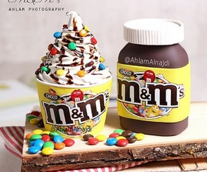 food, m&m's, and cake image