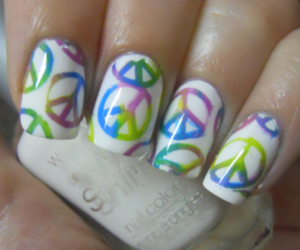 nails, peace, and colorful image