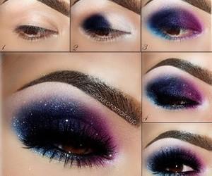 makeup, galaxy, and eyes image