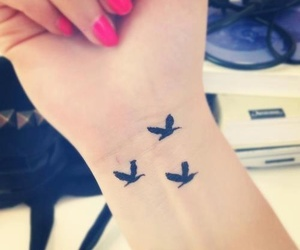 tattoo, bird, and nails image