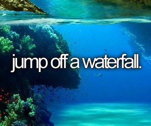 beautiful, text, and jump of a waterfall image