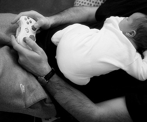 baby, black and white, and dad image