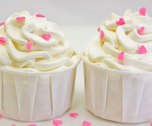 cupcake, frosting, and pink image
