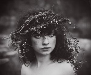 girl, black and white, and pretty image