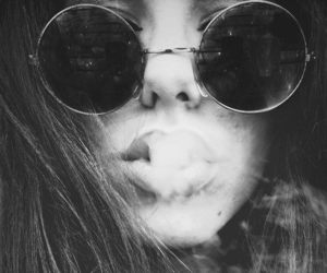 bad, black and white, and smoke image