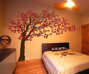 bedroom, blowing, and cherry blossom image