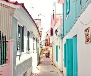 street, house, and pink image