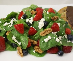 spinach salad, strawberry salad, and strawberry spinach salad image