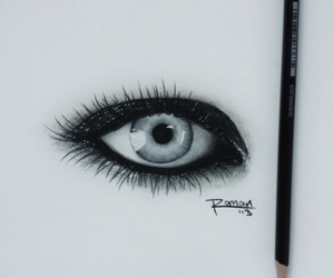 black and white, drawing, and eye image