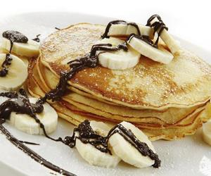 pancakes, banana, and chocolate image