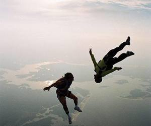 people, sky, and sky diving image