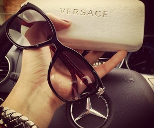 Versace, sunglasses, and mercedes image