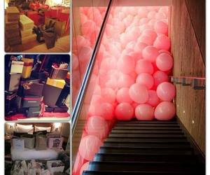 balloons, pink, and gifts image