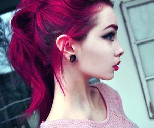 girl, Plugs, and ponytail image