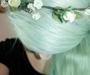 flower, flower crown, and green hair image