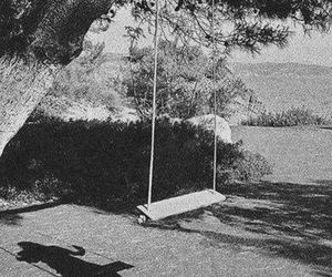 ombre, black and white, and swing image