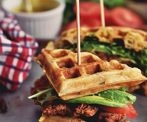 food, waffles, and sandwich image