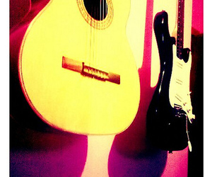 guitar, instruments, and pink image