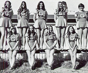 black and white, vintage, and cheerleader uniform image