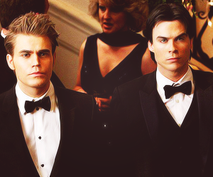 paul wesley, stefan salvatore, and damon salvatore image