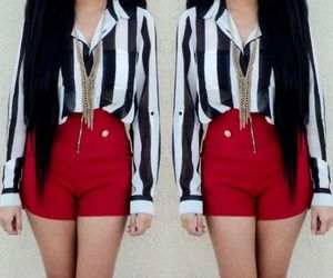 blouse, stripes, and shorts image