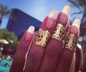 nails, gold, and ring image