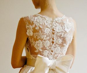 dress, wedding, and bow image