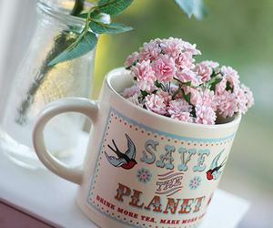flowers, mug, and pink image