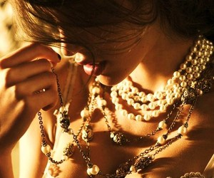 coco chanel, pearls, and diamonds image