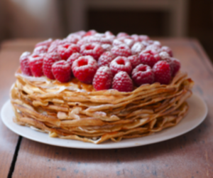 food, pancakes, and raspberry image