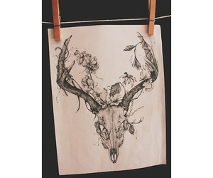 deer, flowers, and tattoo image