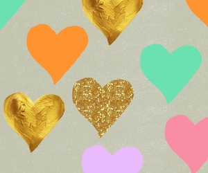 background, hearts, and gold image