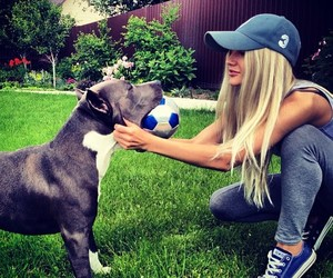 girl, dog, and blonde image