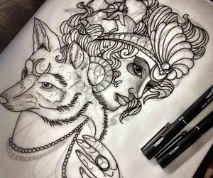 tattoo, drawing, and fox image