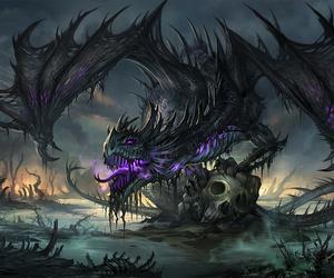 dragon, art, and black image