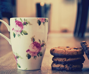 Cookies, tea, and cup image