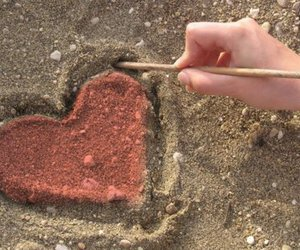 love, heart, and sand image