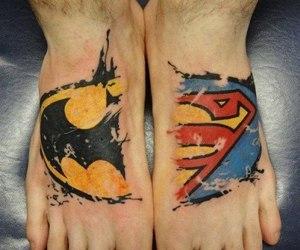 tattoo, superman, and batman image
