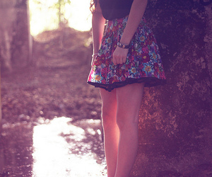 girl, skirt, and floral image