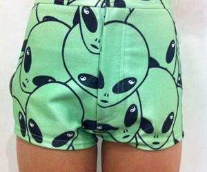 alien, shorts, and green image