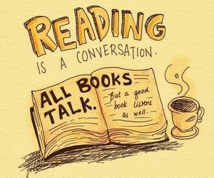book, reading, and conversation image
