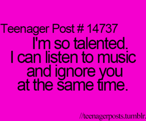 music, ignore, and teenager post image