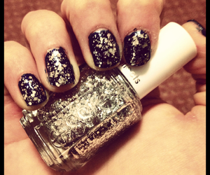 nails, silver, and sparkles image