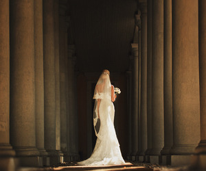 bride, gown, and white wedding image