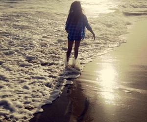 beach, sunset, and girl image
