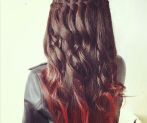 black jacket, waterfall braid, and red tips image